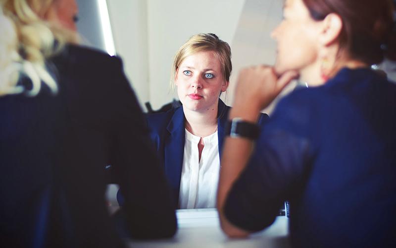 woman undergoing a job interview
