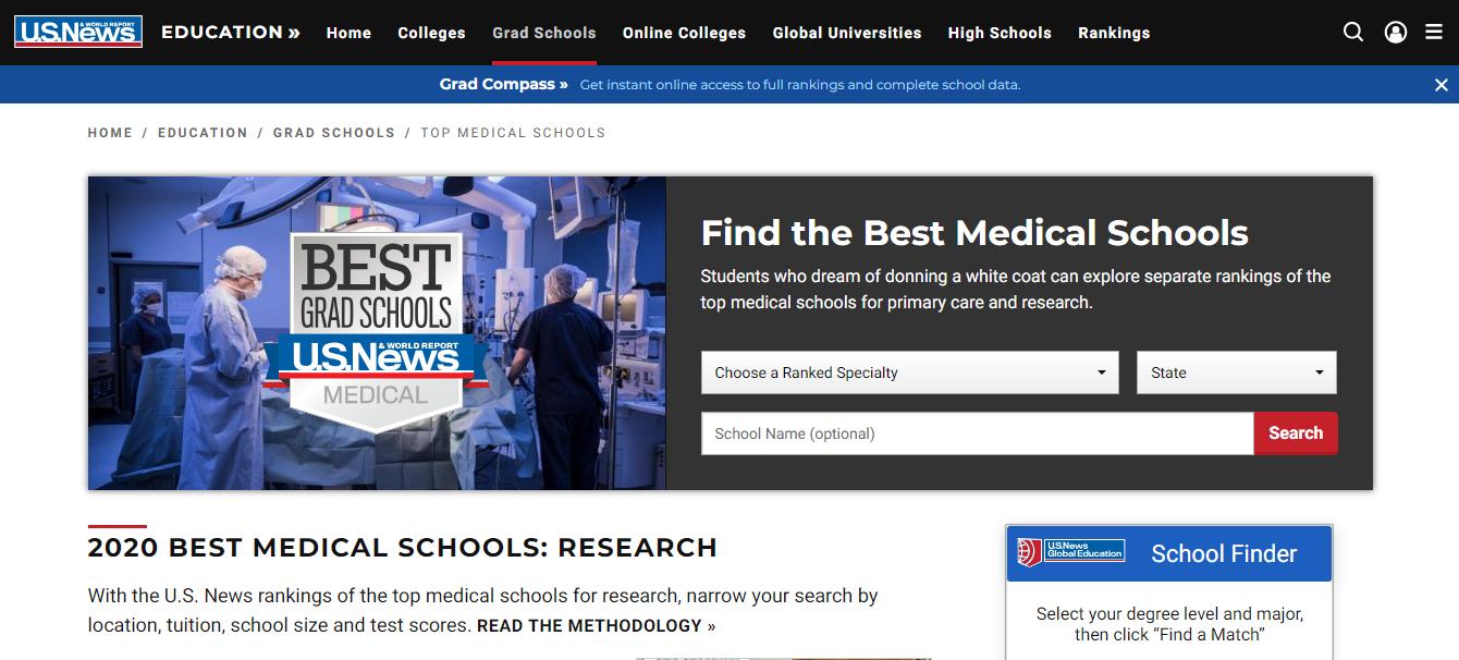 US NEWS website screenshot