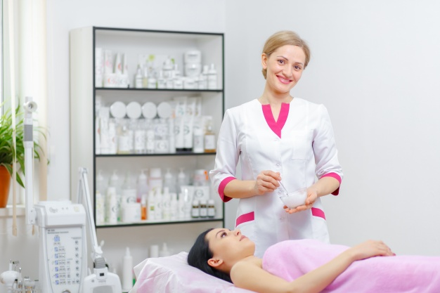 professional woman smiling with client lying